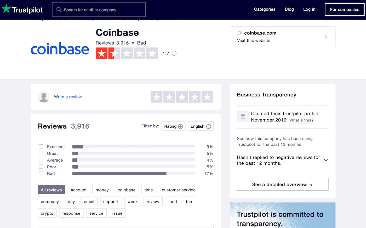 coinbase review trustpilot