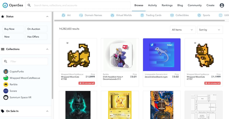 Market for NFT a digital art