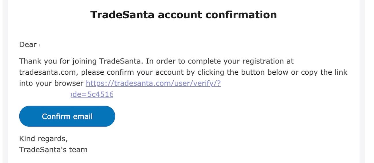 tradesanta registration verification