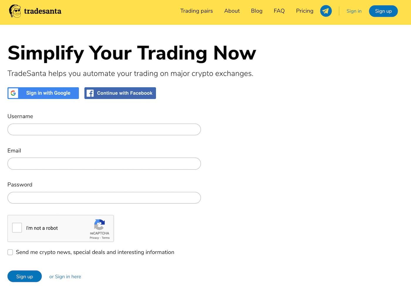 tradesanta registration sign up